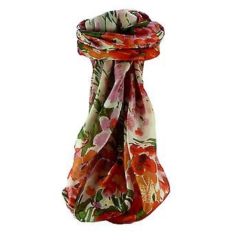 Bufanda de seda de morera contemporáneo Plaza F225 Floral por Pashmina y seda