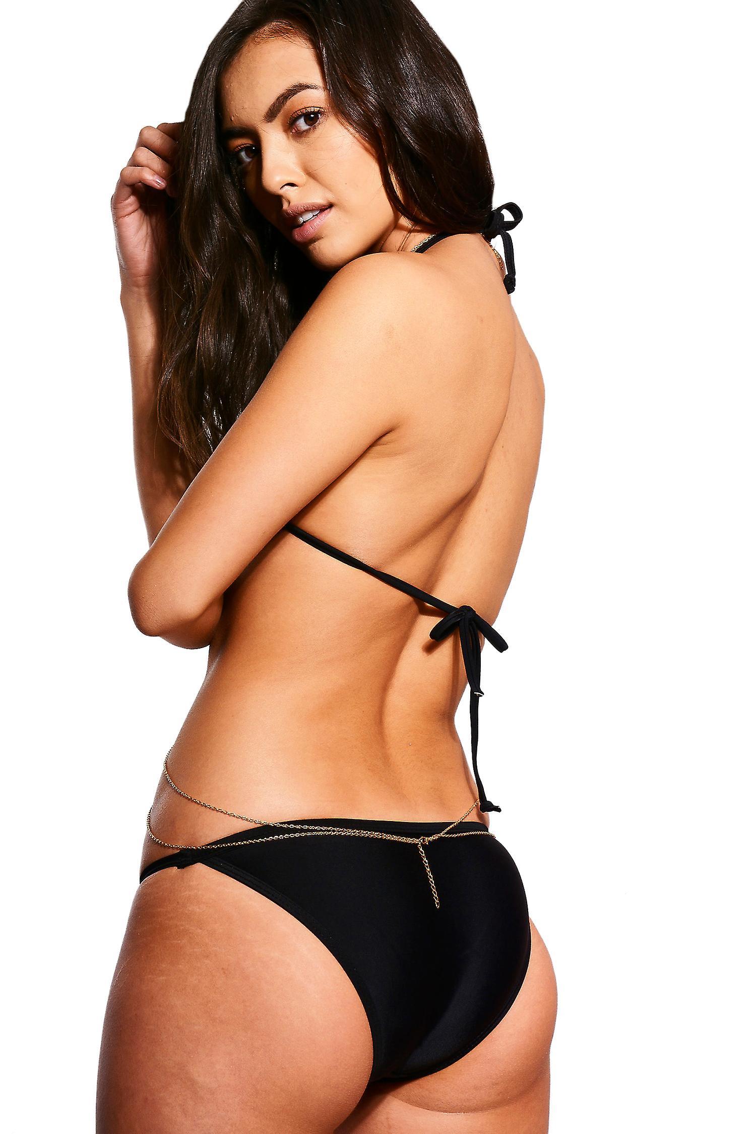 LMS Black Halter Neck Triangle Mesh Insert Bikini - SAMPLE