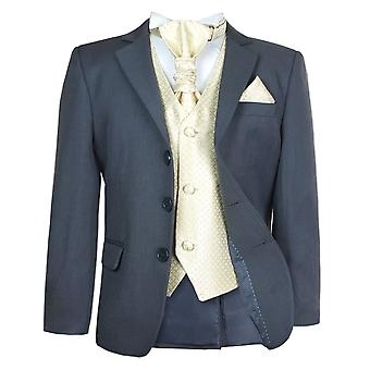 Boys 5 Pc Grey & Gold Wedding Cravat Suit Pageboy Prom Suit