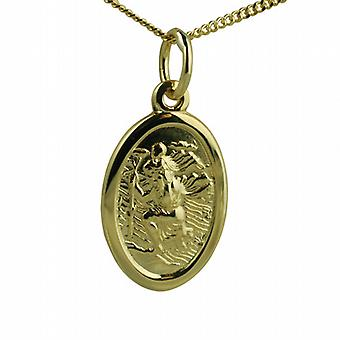 18ct Gold 17x11mm oval St Christopher Pendant with a curb Chain 20 inches