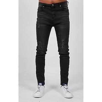 Always Rare Distressed Drop Crotch Black Tapered Jeans