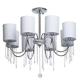 Glasberg - Chrome Eight Light Semi-Flush With Grey Shades And Crystals 379018608