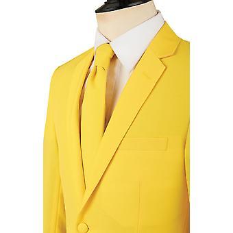 d/Spoke Mens Lemon Yellow 2 Piece Suit Regular Fit Notch Lapel Novelty Partywear
