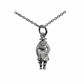 Silver 18x8mm Beefeater Pendant with a rolo Chain 24 inches