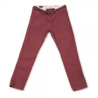 Scotch & Soda Relaxed Slim Fit Chino Pant With Belt,Oxblood