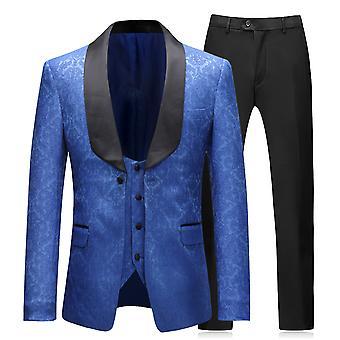 Allthemen menns Tuxedo Dress 3-stykker bryllup slank passform Dress blazer & vest & bukser