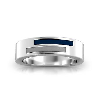 Xavier University Sterling Silver Asymmetric Enamel Ring In Blue and Grey