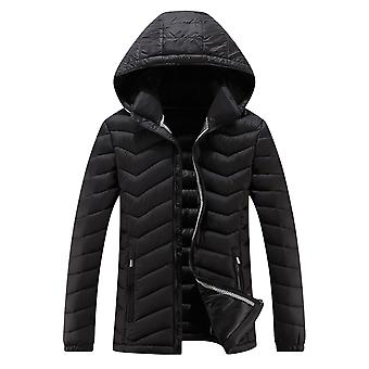 Allthemen Mens Winter Hoodies Coats Cotton Down Jacket Thicken Plush Warm Fur Waterproof Windproof Outwear Coat Hood Parka Black