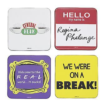 Venner Coasters citater sæt af 4, belagt, kork.