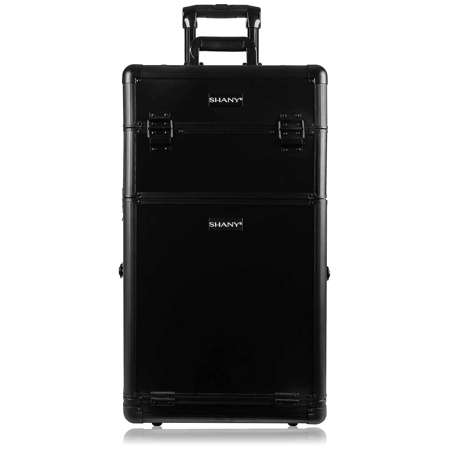SHANY Rebel Trolley Cosmetics Case and Storage - Professional Makeup Artist Train Case with Multiple Compartments - BLACK