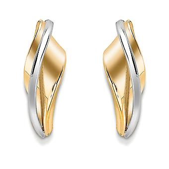 Jewelco London 9ct 2-Colour Gold Twisted Ribbon Drop Stud Earrings