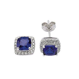 Jewelco London Rhodium Plated Silver Blue and White Asscher and Round Cubic Zirconia Halo Cluster Stud Earrings