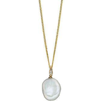 Elements Gold Baroque Pearl and Diamond Pendant - Gold/Cream