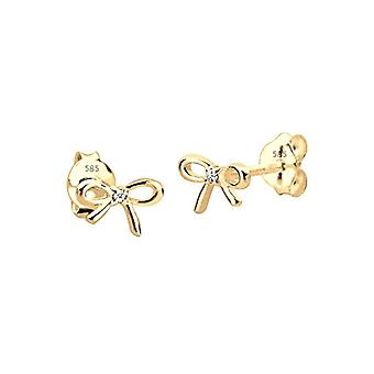Diamore - women's earrings in the shape of a bow in yellow gold 585 with diamond (0 -02 ct) - white - round cut - 0308493115
