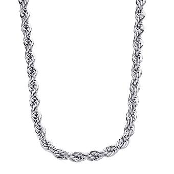Iced Out Bling Stainless Steel Cord Chain - 4mm 90cm argent