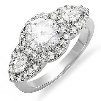 2.50 CT Ladies White Round and Pear Shape CZ Cubic Zirconia Bridal Engagement Ring 7mm center