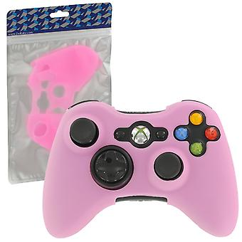 Soft silicone rubber skin grip cover case for microsoft xbox 360 controller - pink