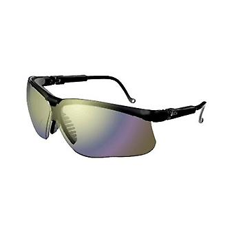 Uvex Genesis Safety Glasses, Black, Gold Mirror Lens, Anti-Scratch #S3203