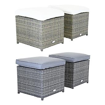 Charles Bentley Pair of Rattan Foot Stools Outdoor Garden Chair-atherproof-Fully Assembled in Grey/Natural