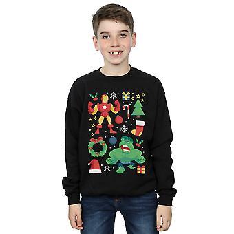 Marvel Boys Iron man en Hulk kerst dag Sweatshirt