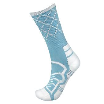Medium Basketball Compression Socks, Light Blue/White