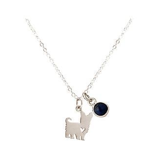 GEMSHINE kjeden Yorkshire terrier hund safir blå 925 sølv, gullbelagt, Rose