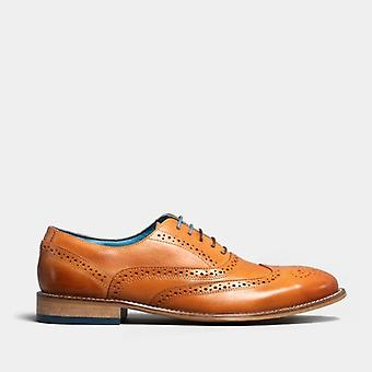 Oswin Hyde Winston Mens Leather Brogue Oxford Shoes Tan