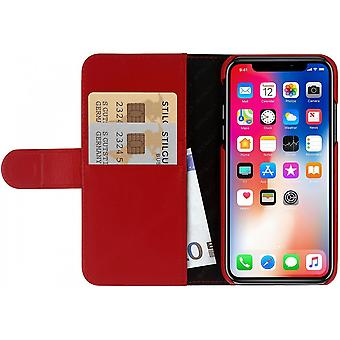 Case For IPhone Xs / X Red Nappa Card Holder In True Leather