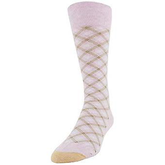 Gold Toe Men's Fashion Dress Crew Socks, 1 Pair, Blush Bias Gingham, Shoe Siz...