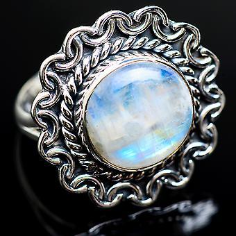 Rainbow Moonstone 925 sterling sølv ring størrelse 8-håndlavede Boho vintage smykker RING980333