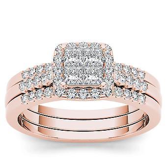 Igi certifierad 14k steg guld 0,75 ct prinsessa diamant halo förlovningsring set