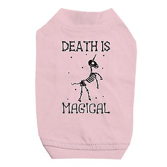 Death is Megical Unicorn Skeleton Halloween Pink Pet Shirt for Small Dogs