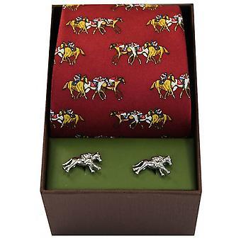 David Van Hagen Horse Racing Theme Tie and Cufflink Set - Red
