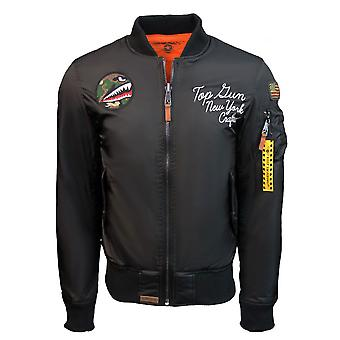 Top Gun MA-1 Lady Luck Reversible Bomber Jacket Black Orange