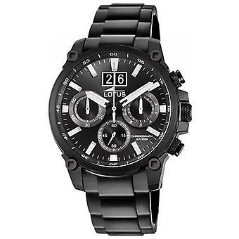 Lotus 10141-3 CHRONO watch - klocka Chrono Steel Black Dial svart man