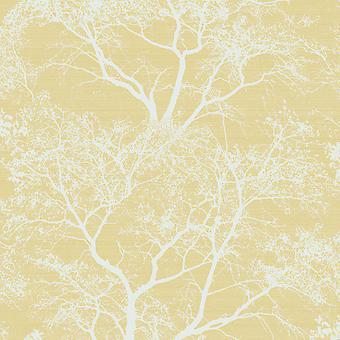 Whispering Trees glitter behang geel Holden 65621