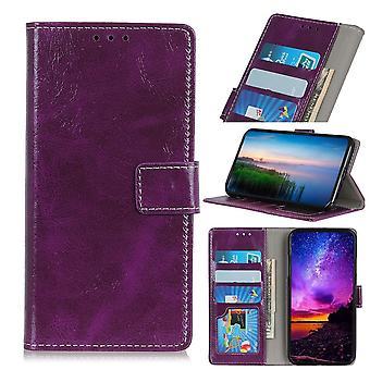retro vill hest tekstur folio lærveske til iPhone 11 Pro maks, holder, kortspor, fotoramme, lommebok, lilla