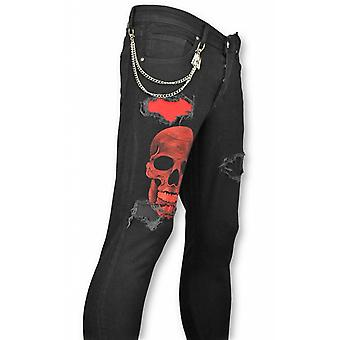 Skinny Jeans - Ripped Jeans - Skull Red Black