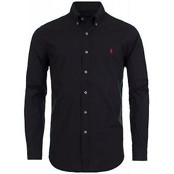 Ralph Lauren Polo shirt heren zwart Poplin katoen stretch klassieke pasvorm