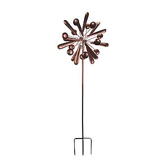 76 Inch Antieke koper Dual Paddle Wind Spinner Kinetic Windmill Garden Inzet
