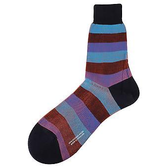Pantherella Stirling 3 Colour Stripe Socks - Navy