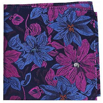 Posh and Dandy Large Flowers Silk Pocket Square - Purple/Blue