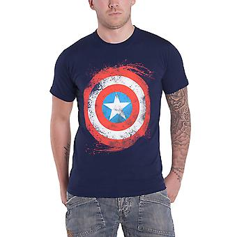 Captain America T Shirt Shield swirl new Official Marvel Mens Blue