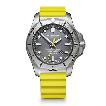 Victorinox I.N.O.X Professional Diver Yellow Rubber Strap Grey Dial Mens Watch 241844 45mm