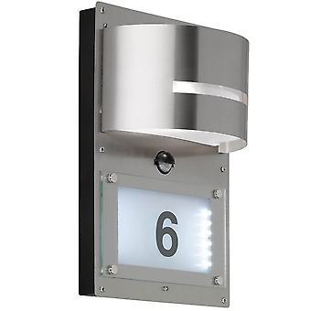 WOFI Marvel Outdoor Pir Wall Light em aço inoxidável com número da casa Ip44 4046.02.97.7000