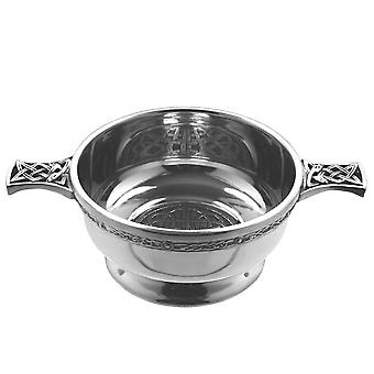 Celtic Knot Work Pewter Quaich with Cental Celtic Knot Disc Segmented 3.5