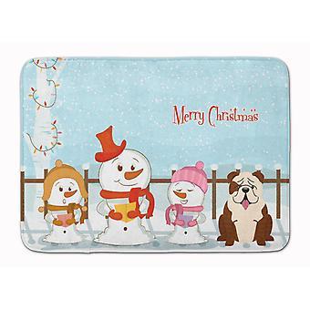 Merry Christmas Carolers English Bulldog Brindle White Machine Washable Memory F