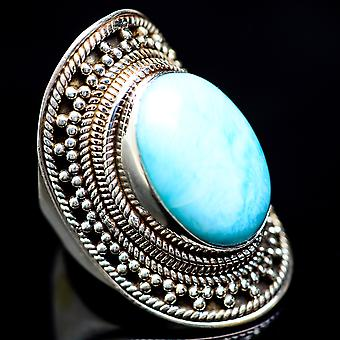 Huge Larimar Ring Size 6.75 (925 Sterling Silver)  - Handmade Boho Vintage Jewelry RING4103