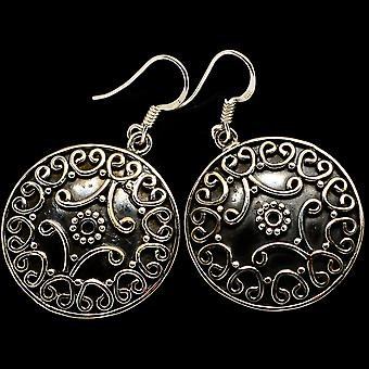Floral Pattern Boucles d'oreilles 1 5/8-quot; (925 Sterling Silver) - Handmade Boho Vintage Jewelry EARR400375
