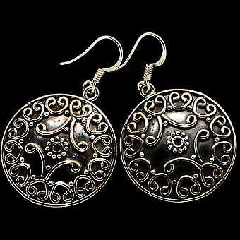 """Kolczyki z kwiatowym wzorem 1 5/8"""" (925 Srebro) - Ręcznie robiona biżuteria boho vintage EARR400375"""